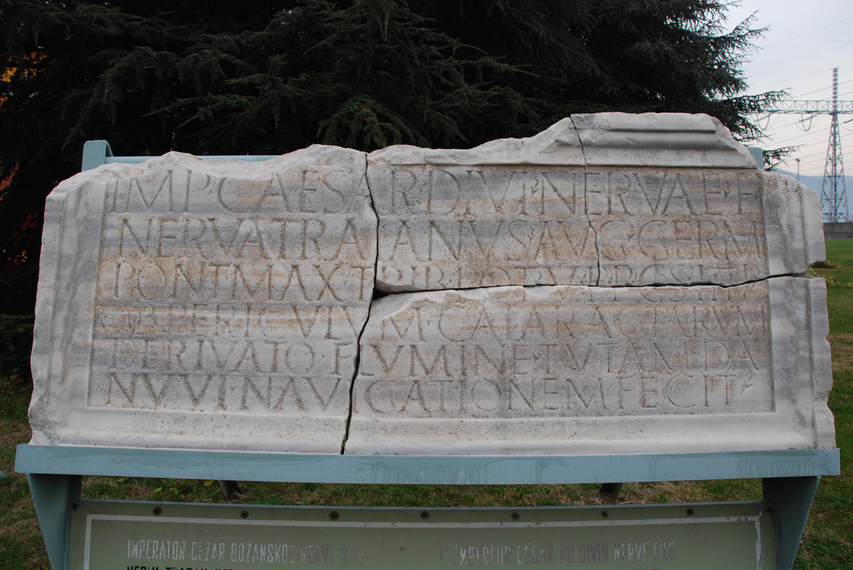 Trajan's inscription of the construction of the channel, set to Diana cataracts, Diana, 101 AD