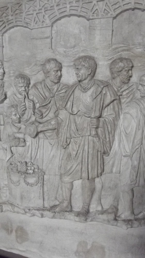 Emperor Trajan giving sacrifice by Trajan's Bridge, a detail from the copy of a relief of Trajan's Column