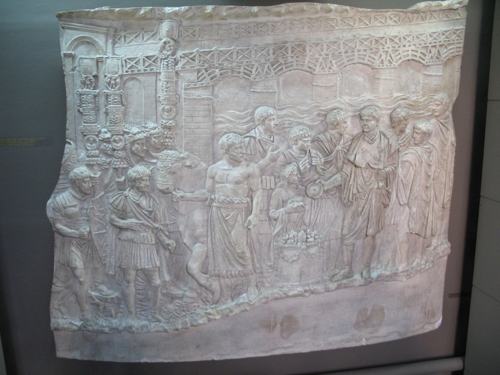 Copy of a relief of Trajan's Column in Rome (113 AD) showing Trajan's Bridge on the Danube